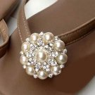 Women Fashion Wedding Rhinestone Crystal Pearl Flower Shoes Charms Clips Pair