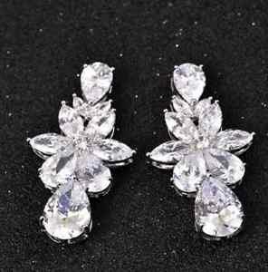 Luxury Women Ladies CZ Earrings Teardrop Ear Studs Charm Wedding Jewelry
