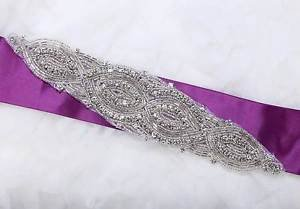 Vintage Beaded Rhinestone Crystal Wedding Bridal Ribbon Sew Iron Applique DIY