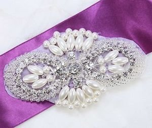 "4"" Large Faux Pearl Beaded Wedding Bridal Rhinestone Crystal Iron Applique DIY"