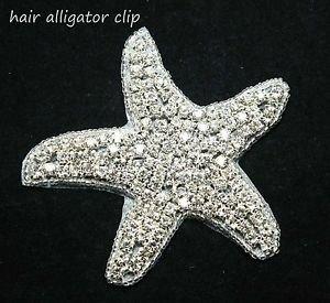 Christmas Beach Wedding Starfish Star Rhinestone Crystal Hair Alligator Clip