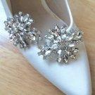 Fashion Rhinestone Crystal Wedding Bridal Poem SilverTone Shoe Clips Pair