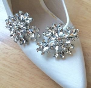 Fashion Rhinestone Crystal Wedding Bridal Poem SilverTone Shoe Clips Pair