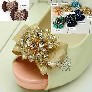 Grosgrain Ribbon Bow Beaded Crystal Shoe Clips Charms Pair Blue Black Champagne
