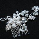 Wedding Bridal Faux Pearl Rhinestone Crystal Flower Leaf Hair Comb Headpiece