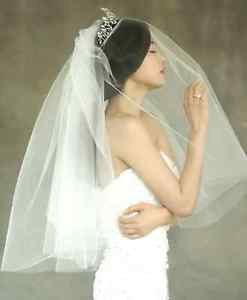 2 Tiers Simple Style White/Ivory Wedding Bridal Short Mask Veil With Comb