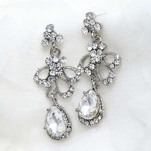 Clear Rhinestone Crystal Dangle Bridal Prom Pageant Stud Earrings
