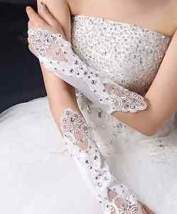 Wedding Bridal Prom Pageant Anniversary Crystal White Ivory Flower Lace Gloves