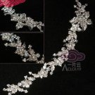 "Flowers Leaves Rhinestone Crystal Wedding Bridal Hair Tiara Chain 9"" DIY Craft"