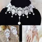 White Cream Lace Wedding Bridal Necklace, Bracelet And Earrings