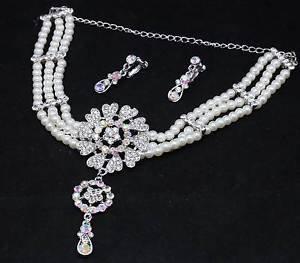 Wedding Bridal Rhinestone Crystal Faux Pearl Necklace Earrings Jewelry Set