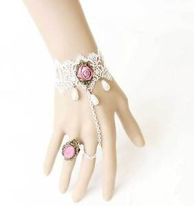 Handmade White Lace Faux Pearl Pink Rose Flower Slave Ring Bracelet