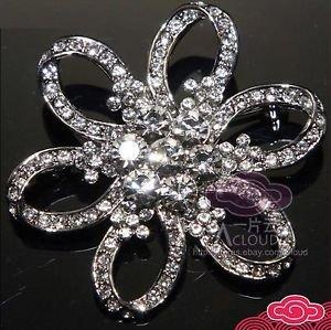 Lot Of 4 Wedding Bridal Rhinestone Crystal Flower Silver Brooch Pin