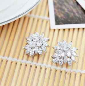 White Platinum Plate Silver CZ Round Crystal Cubic Zirconia Stud Earrings