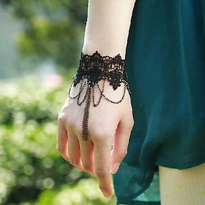Halloween Christmas Party Goth Black Lace Metal Chain Bracelet