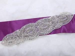 Wedding Bridal Dress Gown Sash Iron Sew Craft Beaded Rhinestone Applique DIY
