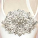 Bridal Wedding Prom Rhinestone Oval Princess Design Silver Shoe Clip Accessory