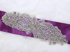 Beaded Rhinestone Crystal Wedding Bridal Sash Belt Decoration Iron Sew Applique