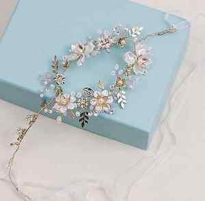 Wedding Bridal Flower Pearl Rhinestone Crystal Gold Tiara Headpiece Hair Piece