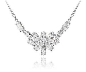 Platinum Plate Wedding Cubic Zirconia Zircon CZ Diamante Pendant Necklace