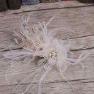 Wedding Bridal White Flower Feather Gold Hair Alligator Clip Headpiece