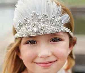 Wedding Flower Girl Rhinestone Crystal White Applique Feather Headband Headpiece