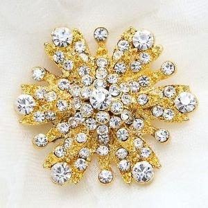 Wedding Brooch Pin, Bridal Broach, Flower Brooch Jewelry, Gold Flower Brooch