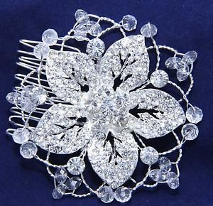 Bridal Wedding Poem Diamante Crystal Rhinestone Flower Beads Hair Comb Jewelry
