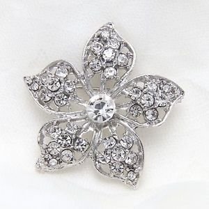 Clear Silver Tone Rhinestone Crystal Diamante Flower Pin Wedding Alloy Brooch
