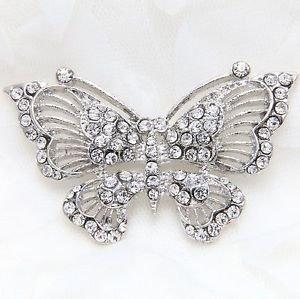 Silver Or Gold Tone Rhinestone Crystal Wedding Decoration Butterfly Brooch Pin