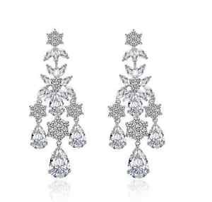 Cubic Zirconia Platinum plating Silver Clear Drop Dangle Chandelier Earrings