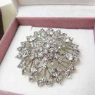 Clear Crystal Rhinestone Brooch Pin Bridal Bridesmaid Flower Wedding Party Prom