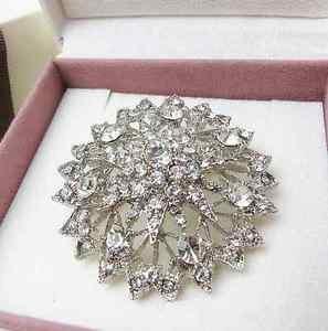 Clear Crystal Rhinestone Brooch Pin Bridal Bridesmaid Flower Wedding Party Prom