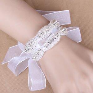 Wedding Bridal Diamante Crystal Rhinestone Applique Bracelet Flower Wrap