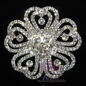 Flower Brooch Pin, Rhinestone Crystal Brooch, Wedding Cake Brooch, Bridal Brooch