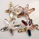 Colors Beach Starfish Star Rhinestone Crystal Shoe Clips Charms Decoration Pair