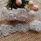 Wedding Bridal Ivory Pearl Beaded Lace Trimming Trim 1 Yard DIY Sewing Craft