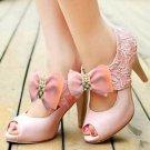 Fashion Women Pink Grosgrain Rhinestone Crystal Bow High Heel Shoe Clips Pair