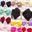 2pc x Fashion Women Dangle Rhinestone Crystal Color Ribbon Bow Shoe Clips Charms