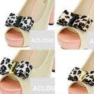 Fashion Leopard Black Brown Faux Fur Pattern Plastic Shoe Clips Charms Pair