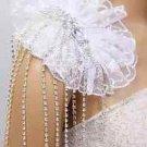 Wedding Bridal Organza Shoulder Pad Rhinestone Tassel Dress Decoration Brooch
