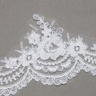 Off White Embroidered Flower Lace Wedding Veil Dress Gown Sew On Trim 1/2 Meters