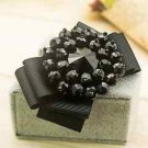 Vintage Style Black Beads Crystal Stones High Heel Bow Shoes Clip Charms Pair
