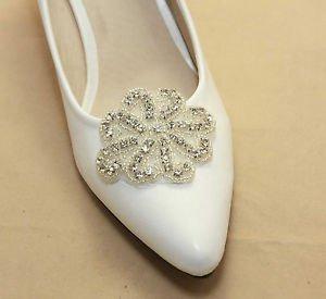 Silver Tone Flower Rhinestone Crystal Wedding Bridal Shoe Clips Charms Pair