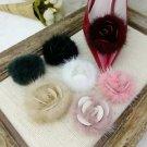 Fashion Black Pink Blue Red Blue Rabbit Fur Rose Flower Winter Boots Shoe Clips
