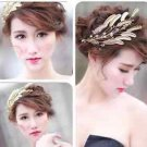 Wedding Bridal Gold Leaf Feather Beads Tiara Crown Headpiece Hair Accessories