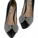 Black White Checks Bow Artificial Leather Rhinestone Shoe Clips Charms Pair -CA