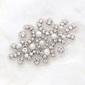 Ivory Pearl Crystal Sew Iron On Wedding Bridal Dress Gown Applique DIY Craft