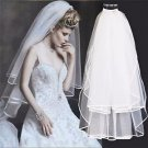 2 Tiers White Off White Organza Wedding Bridal Soft Short Veil With Hair Comb