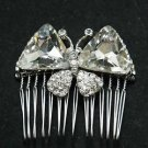 Wedding Bridal Crystal Rhinestone Butterfly Girl Bride Hair Comb Accessoires